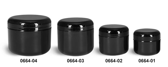 Plastic Jars, Black Plastic Double Wall Radius Jars w/ Black Lined Dome Caps