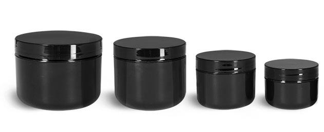 Polypropylene Plastic Jars, Black Plastic Double Wall Radius Jars w/ Smooth Black Lined Caps