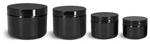 Polypropylene Plastic Jars, Black Plastic Double Wall Radius Jars w/ Smooth Black Lined Caps