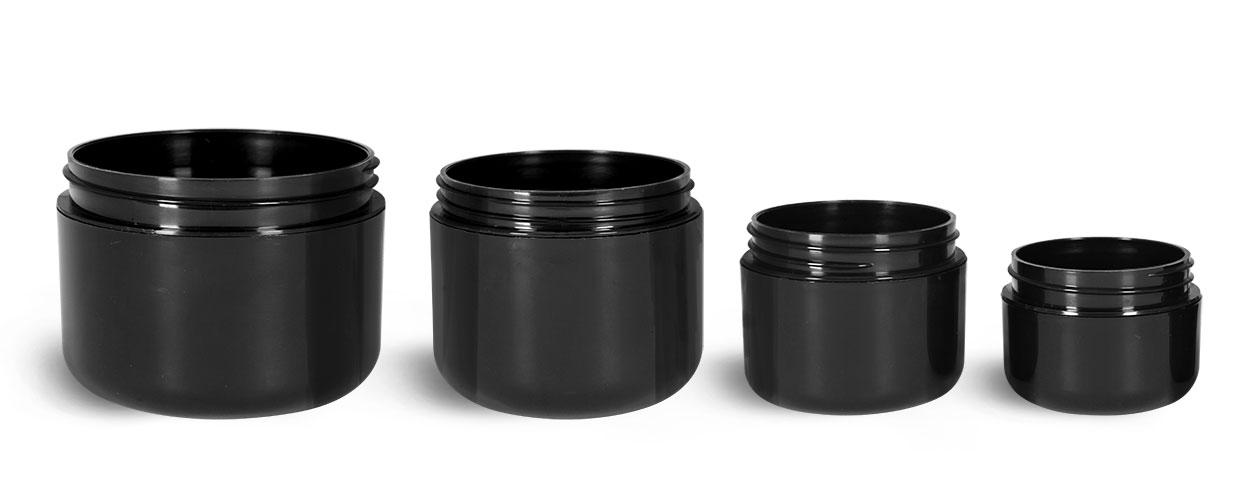 Plastic Jars, Black Plastic Double Wall Radius Jars (Bulk) Caps NOT Included