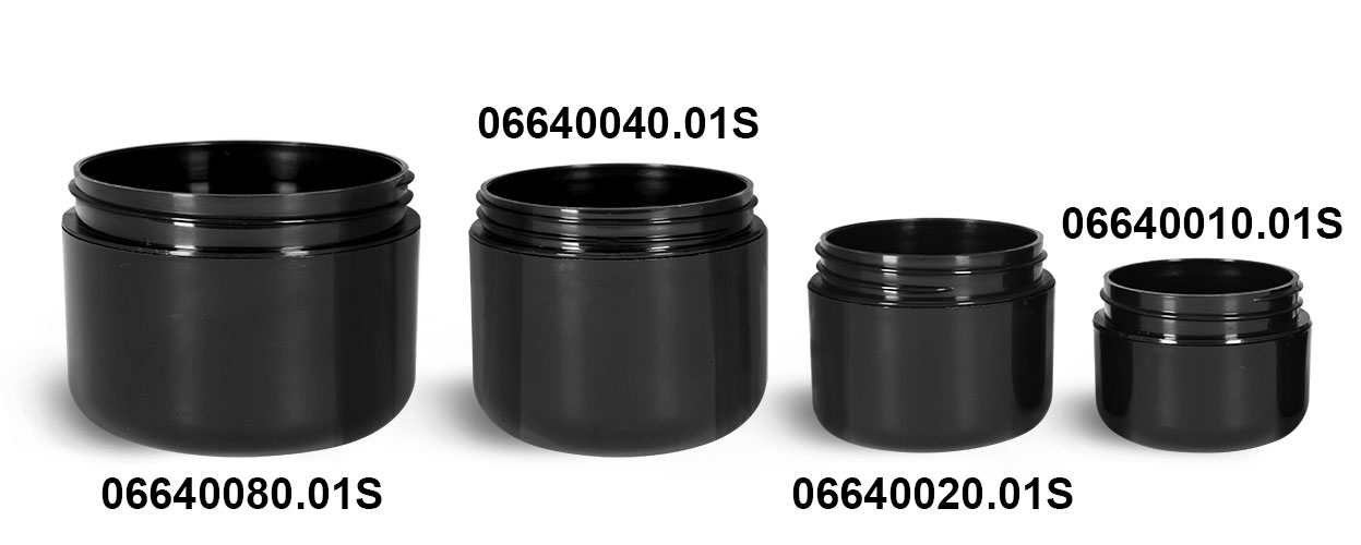 Plastic Jars, Black Plastic Double Wall Radius Jars (Bulk) Caps NOT Included