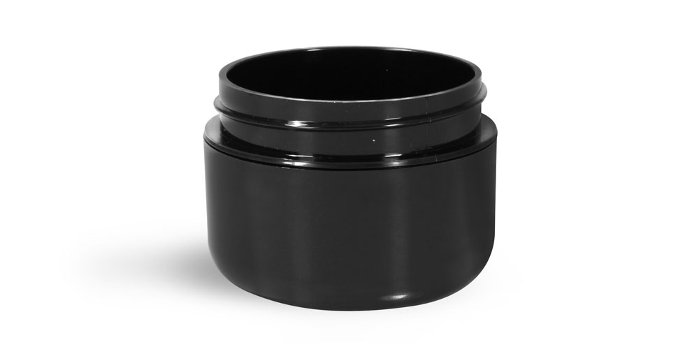 1 oz Plastic Jars, Black Polypropylene Double Wall Radius Jars (Bulk) Caps NOT Included
