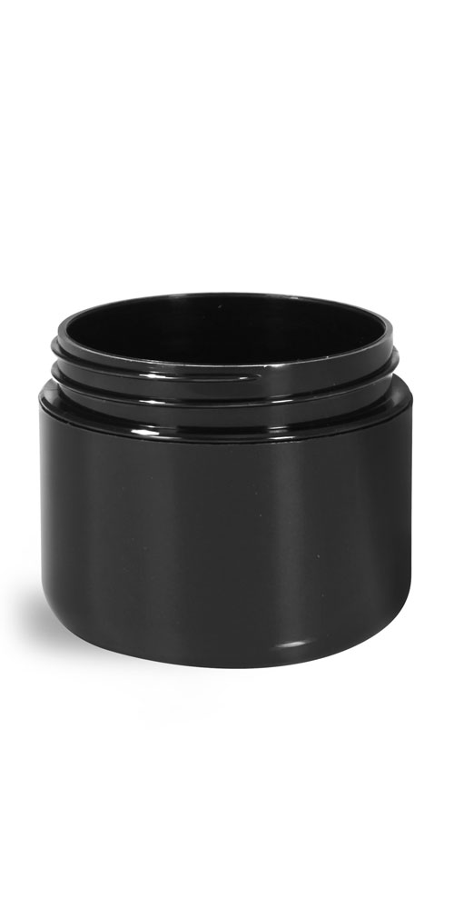 2 oz Plastic Jars, Black Polypropylene Double Wall Radius Jars (Bulk) Caps NOT Included