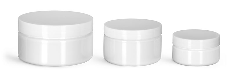 PET Plastic Jars, White Heavy Wall Jars w/ White Smooth F217 Lined Caps