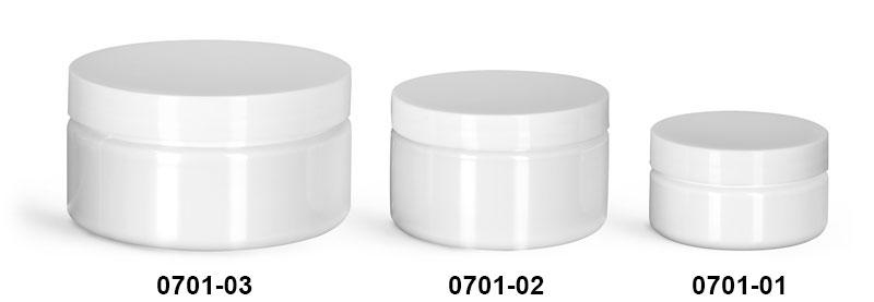 Plastic Jars, White PET Heavy Wall Jars w/ White Smooth F217 Lined Caps
