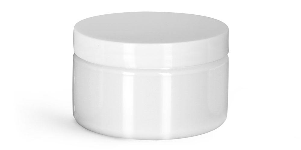 Plastic Jars, White PET Heavy Wall Jars w/ White Smooth PE Lined Caps