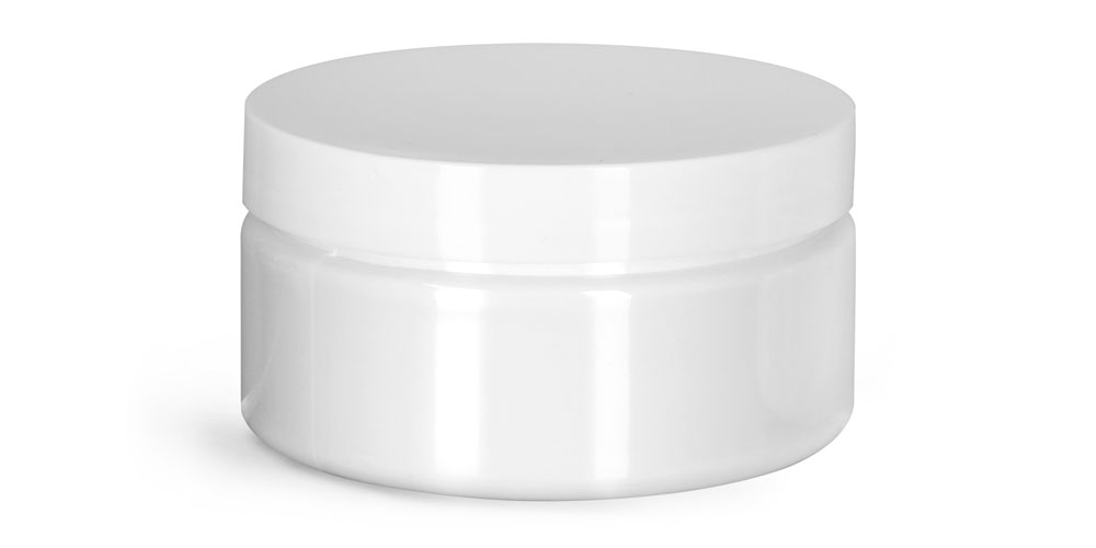 8 oz Plastic Jars, White PET Heavy Wall Jars w/ White Smooth PE Lined Caps