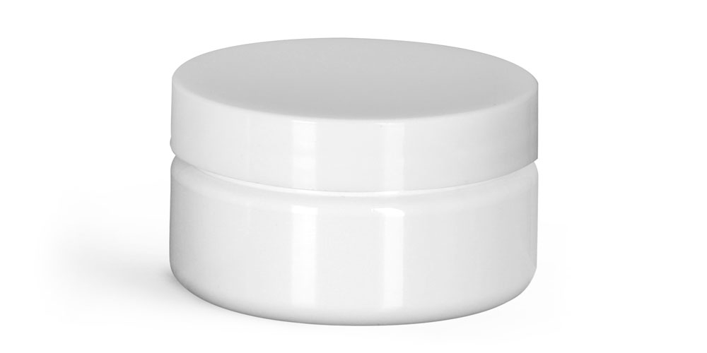 2 oz Plastic Jars, White PET Heavy Wall Jars w/ White Smooth Unlined Caps