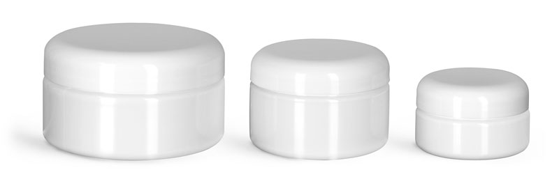 PET Plastic Jars, White Heavy Wall Jars w/ White PE Lined Dome Caps