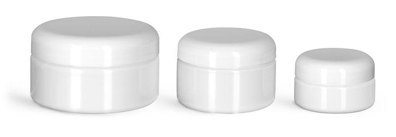 PET Plastic Jars, White Heavy Wall Jars w/ White PE Lined Dome Caps