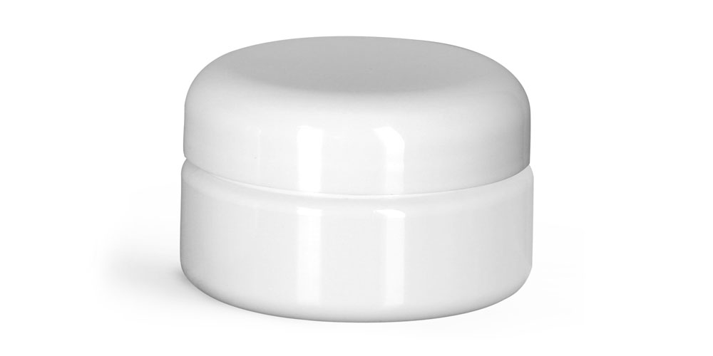 2 oz Plastic Jars, White PET Heavy Wall Jars w/ White Lined Dome Caps