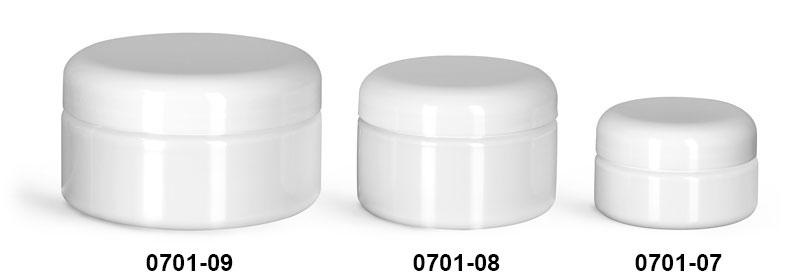 Plastic Jars, White PET Heavy Wall Jars w/ White F217 Lined Dome Caps