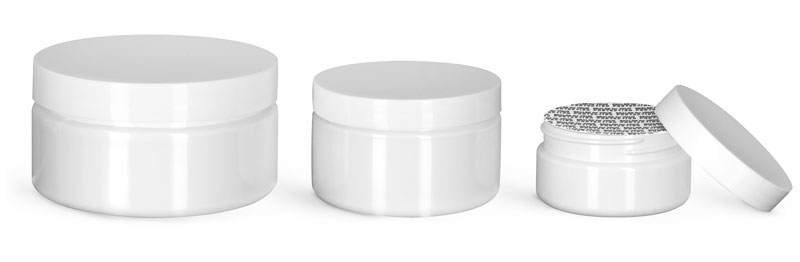 PET Plastic Jars, White Heavy Wall Jars w/ White Smooth PS22 Lined Caps