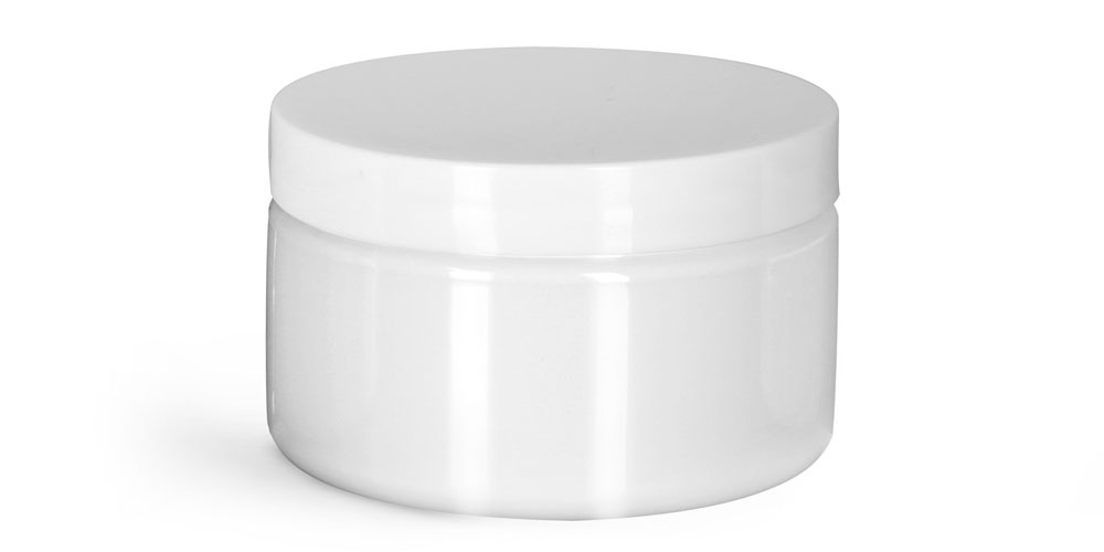 Plastic Jars, White PET Heavy Wall Jars w/ White Smooth PS22 Lined Caps