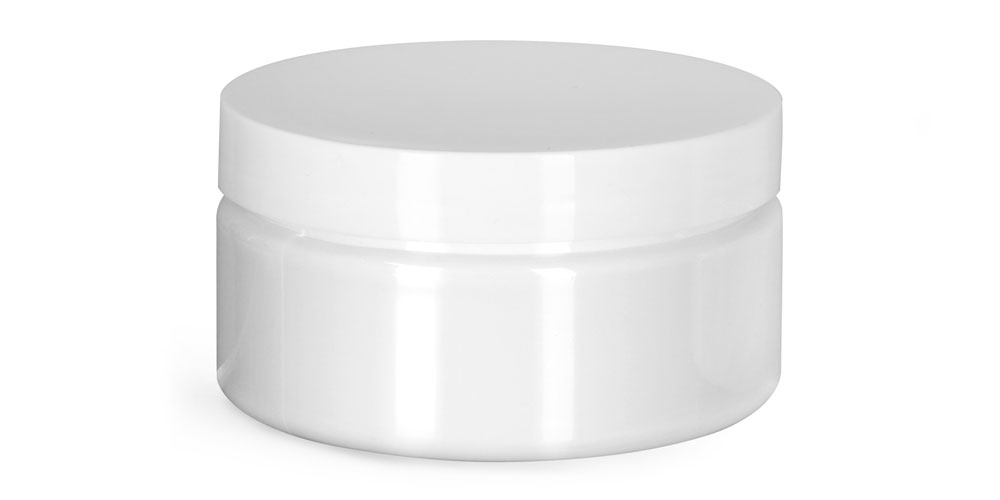 8 oz Plastic Jars, White PET Heavy Wall Jars w/ White Smooth PS22 Lined Caps