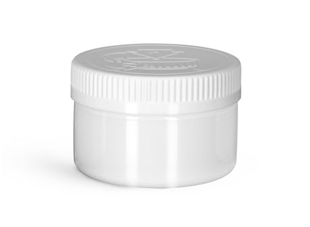 PET Plastic Jars, White Heavy Wall Jars w/ White Child Resistant Caps