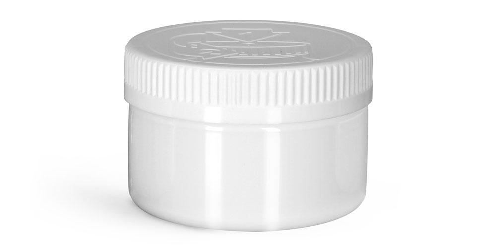 Plastic Jars, White PET Heavy Wall Jars w/ White Child Resistant Caps