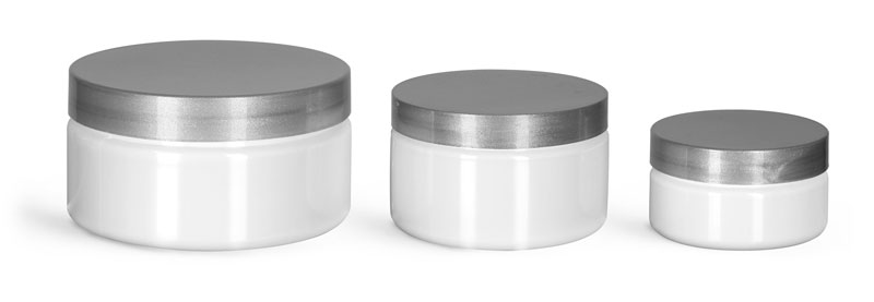 PET Plastic Jars, White Heavy Wall Jars w/ Silver Smooth F217 Lined Caps