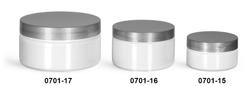 Plastic Jars, White PET Heavy Wall Jars w/ Silver Smooth F217 Lined Caps