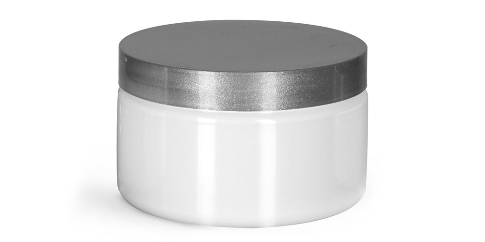 4 oz Plastic Jars, White PET Heavy Wall Jars w/ Silver Smooth PE Lined Caps