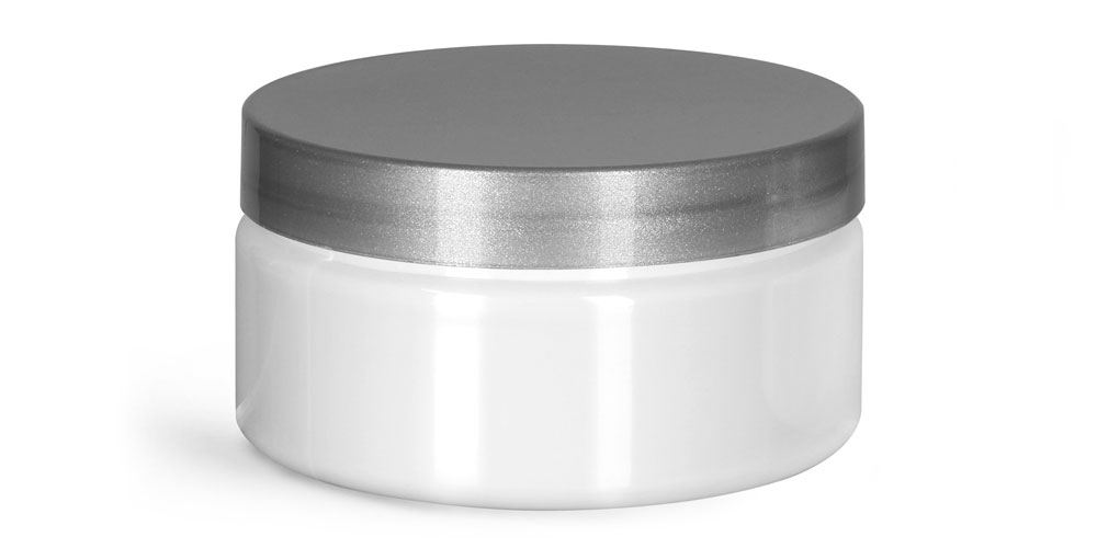 8 oz Plastic Jars, White PET Heavy Wall Jars w/ Silver Smooth PE Lined Caps