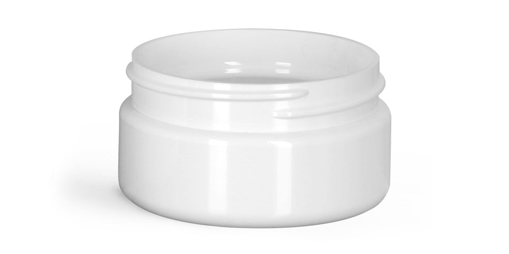 2 oz Plastic Jars, White PET Heavy Wall Jars (Bulk), Caps NOT Included