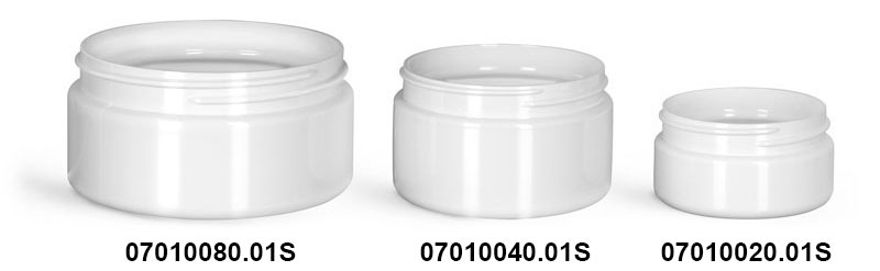Plastic Jars, White PET Heavy Wall Jars (Bulk), Caps NOT Included
