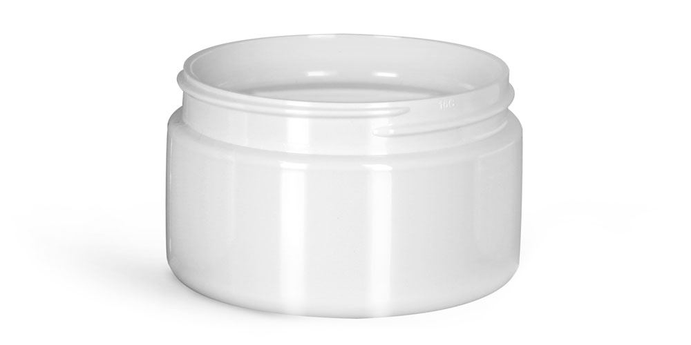 4 oz Plastic Jars, White PET Heavy Wall Jars (Bulk), Caps NOT Included