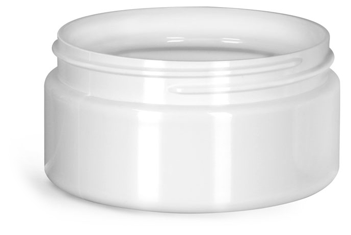 8 oz Plastic Jars, White PET Heavy Wall Jars (Bulk), Caps NOT Included