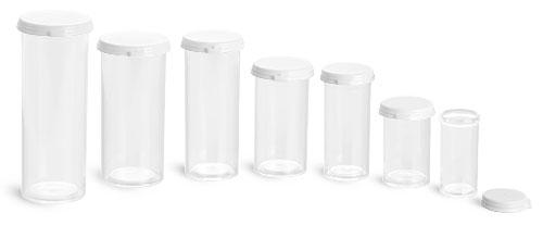 Plastic Vials, Clear Styrene Vials w/ Snap Caps