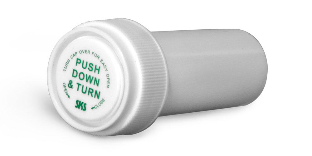 8 Dram Plastic Vials, White Polypropylene Reversible Cap Vials