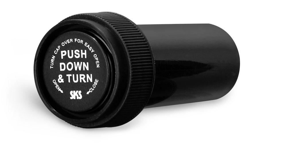 8 Dram Plastic Vials, Black Polypropylene Reversible Cap Vials