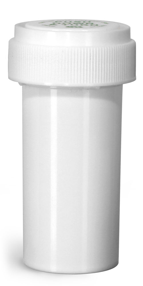 13 Dram Plastic Vials, White Polypropylene Reversible Cap Vials