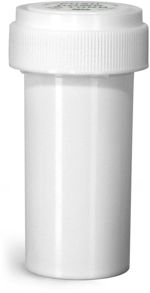 Plastic Vials, White Polypropylene Reversible Cap Vials