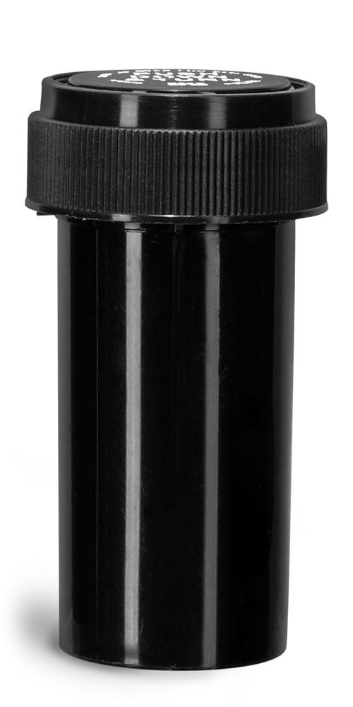 13 Dram Plastic Vials, Black Polypropylene Reversible Cap Vials