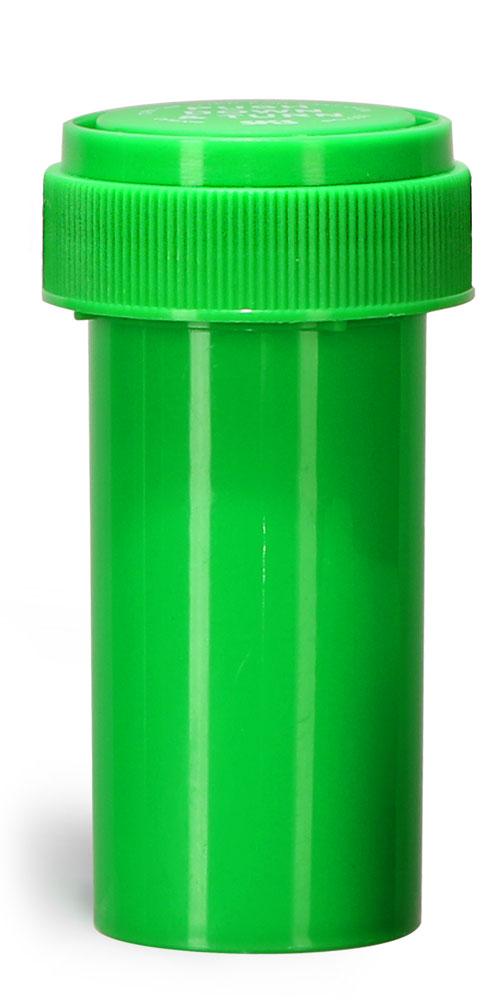 13 Dram Plastic Vials, Green Polypropylene Reversible Cap Vials