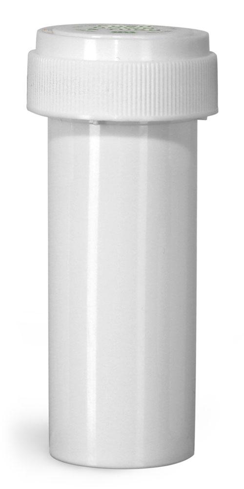 16 Dram Plastic Vials, White Polypropylene Reversible Cap Vials