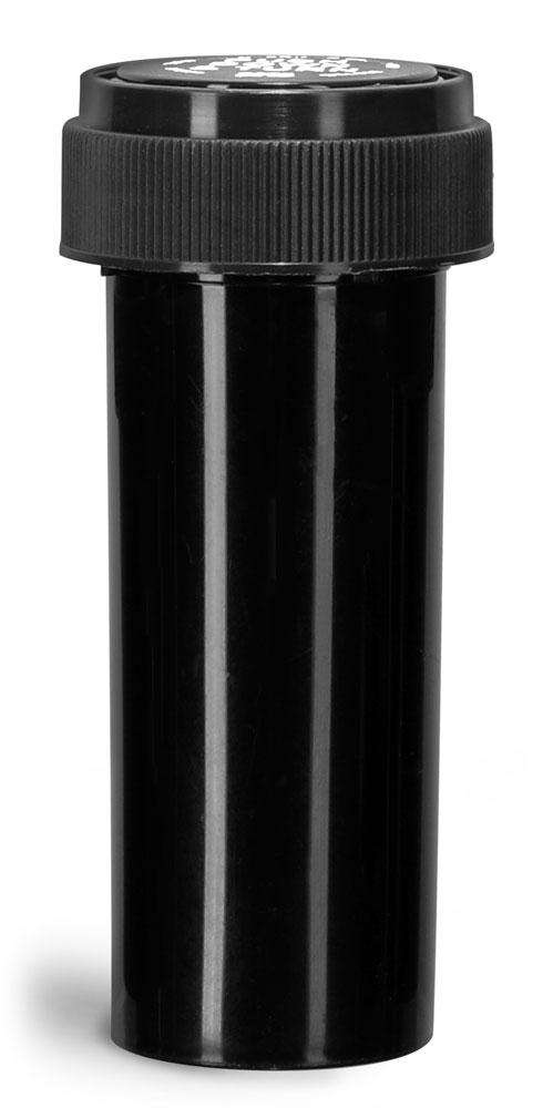 16 Dram Plastic Vials, Black Polypropylene Reversible Cap Vials