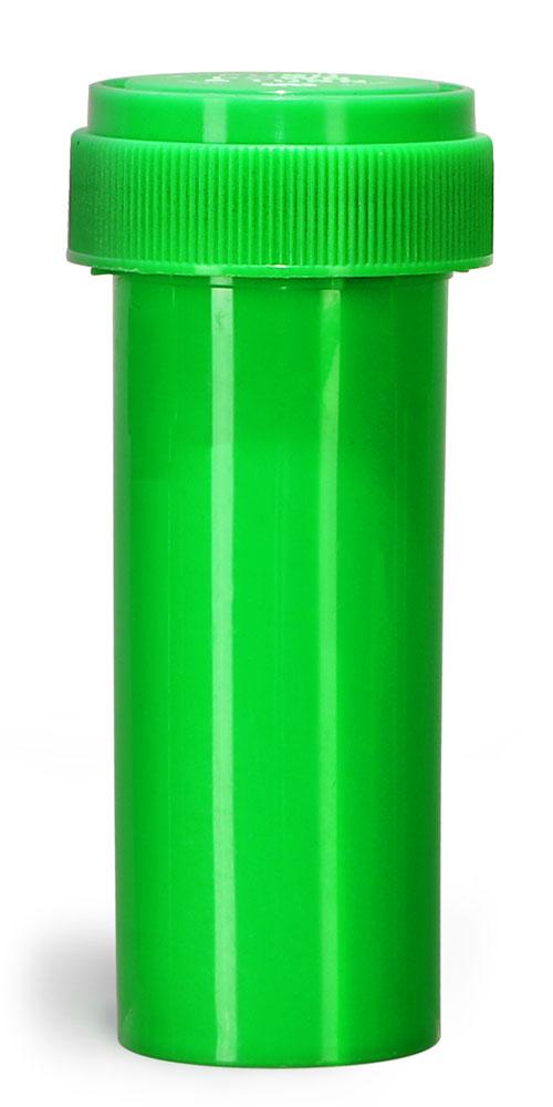 16 Dram Plastic Vials, Green Polypropylene Reversible Cap Vials