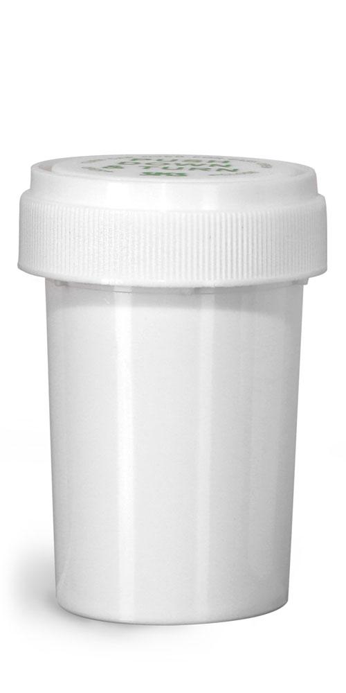 20 Dram Plastic Vials, White Polypropylene Reversible Cap Vials