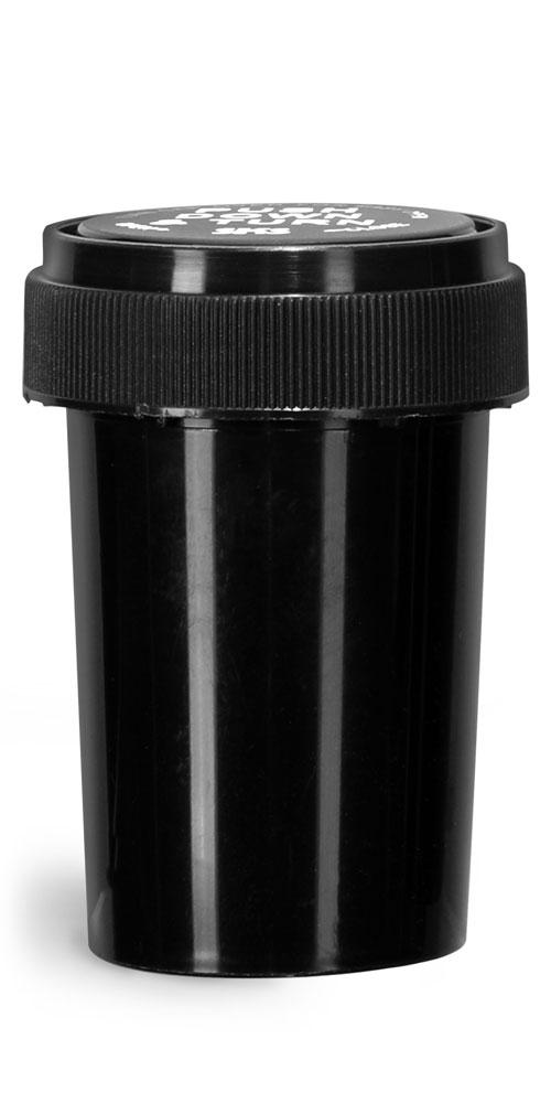 20 Dram Plastic Vials, Black Polypropylene Reversible Cap Vials