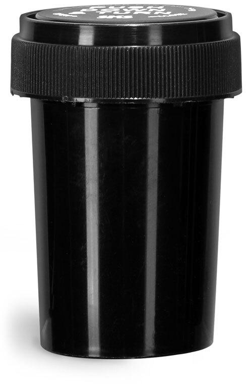 Plastic Vials, Black Polypropylene Reversible Cap Vials