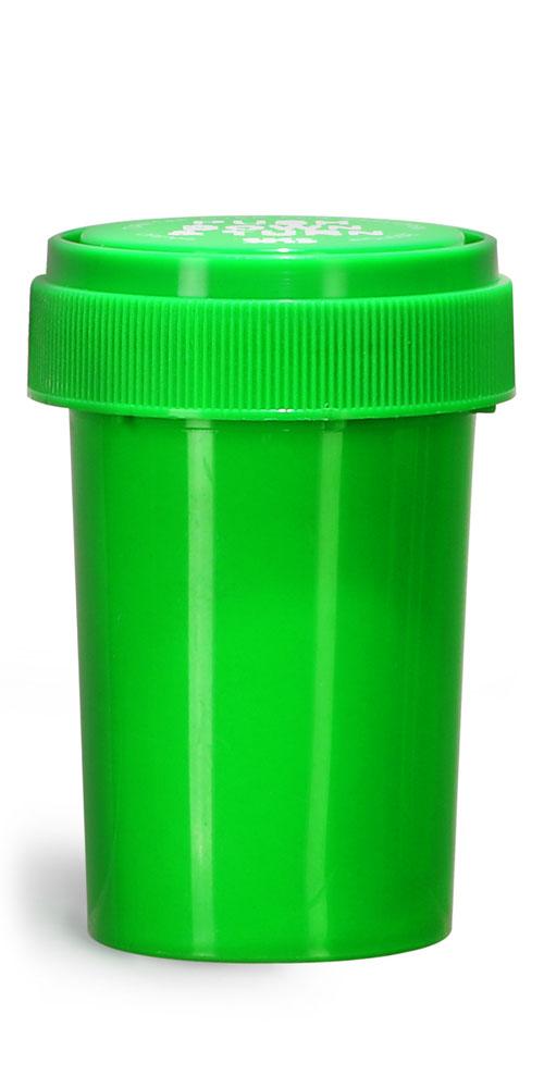 20 Dram Plastic Vials, Green Polypropylene Reversible Cap Vials