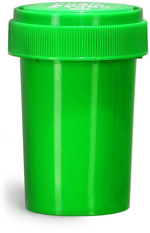 Plastic Vials, Green Polypropylene Reversible Cap Vials