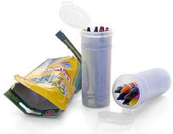 Hinge Top Containers, Crayon Holder Natural Polypro Hinge Top Vials
