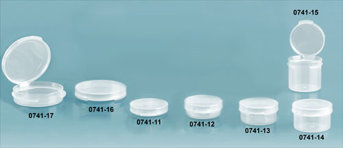 Hinge Top Containers, Natural Polypro Plastic Hinge Top Vials