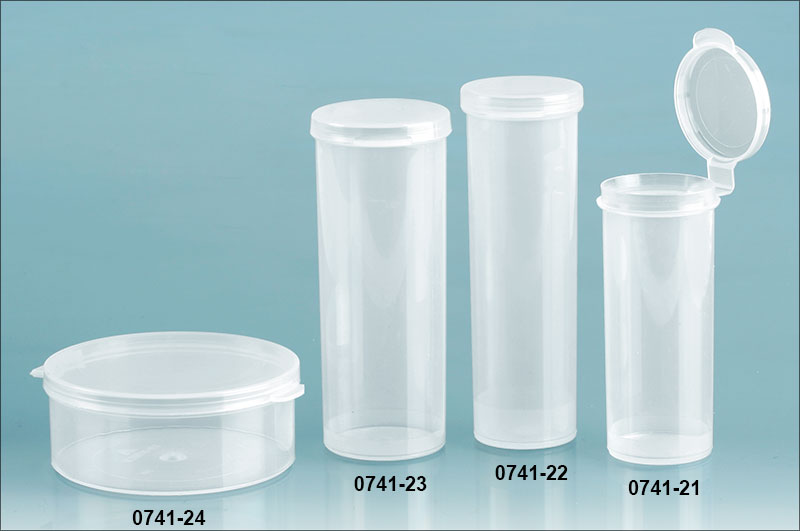 Natural Polypro Hinge Top Vials, 70 mm Dia