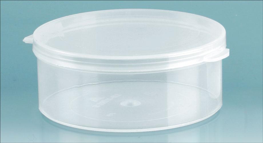 2 1/2 oz Natural Polypro Hinge Top Vials, 70 mm Dia