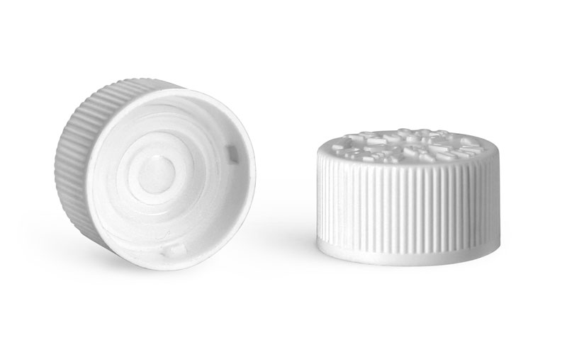 Child Resistant Caps, White Polypropylene Child Resistant Caps w/ LDPE Plug Liners For Purse Pak Vials