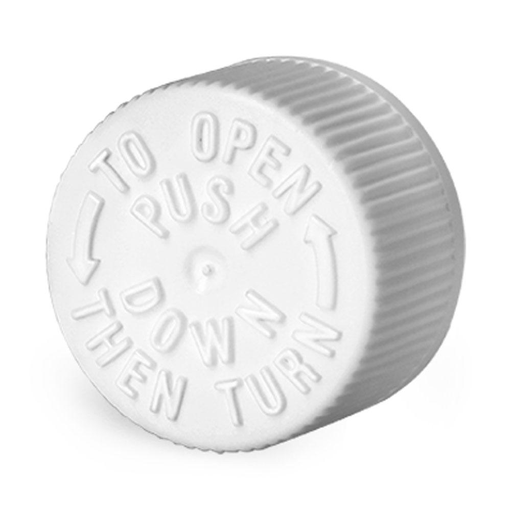 20 mm Plastic Caps, White Child Resistant Caps w/ LDPE Plug Liners For Purse Pak Vials